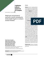 Ganho ponderal e desfechos gestacionais em mulheres atendidas pelo Programa de Saúde da Família em Campina Grande, PB (Brasil)