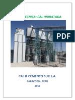 Ficha Tecnica de Cal Hidratada 2018
