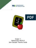 MCA Math Grade 11 Teacher Guide