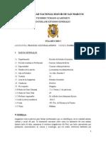 El Proceso Cultural Andino (Syllabus)