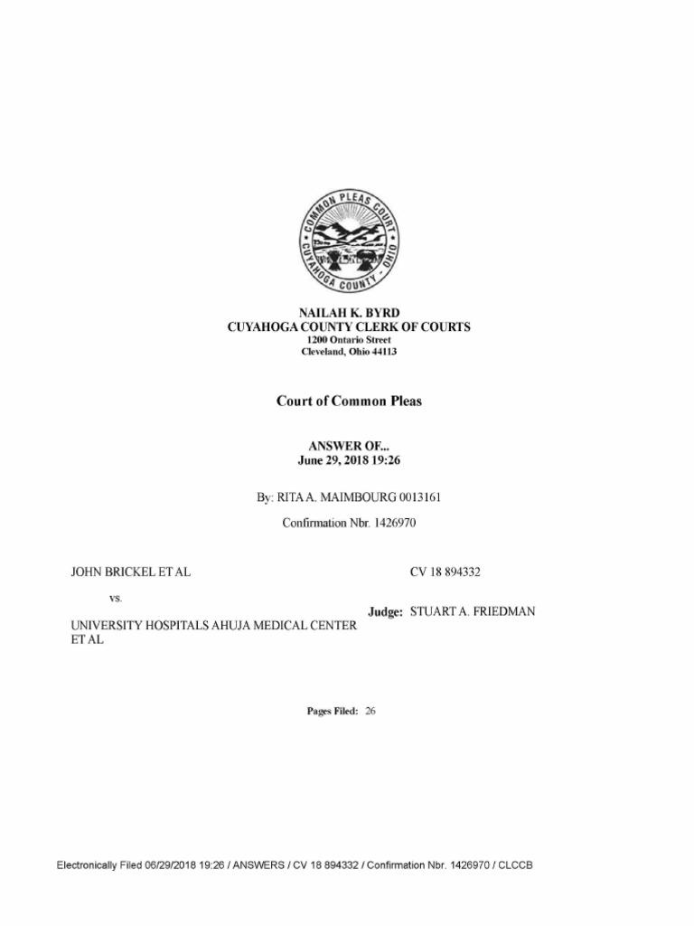 University Hospitals court filing response to fertility