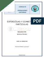 Esfericidad y Diametro de Particula
