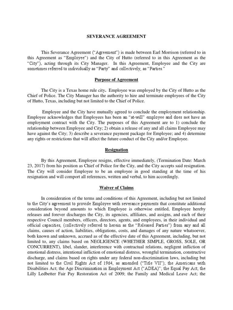Severance Agreement Earl Morrison Employment Indemnity