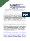 Affidavit and Assertion of Neutrality