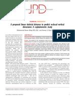 Una Propuesta de Distancia Esquelética Lineal Para Predecir La Dimensión Vertical Oclusal Un Estudio Cefalométrico