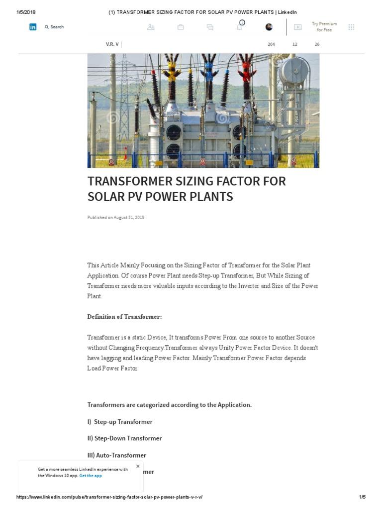 2111111(1) Transformer Sizing Factor for Solar Pv Power Plants _