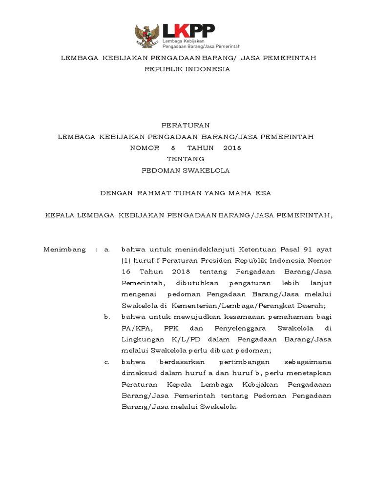 Peraturan Lembaga Nomor 8 Tahun 20181010pedoman Swakelola
