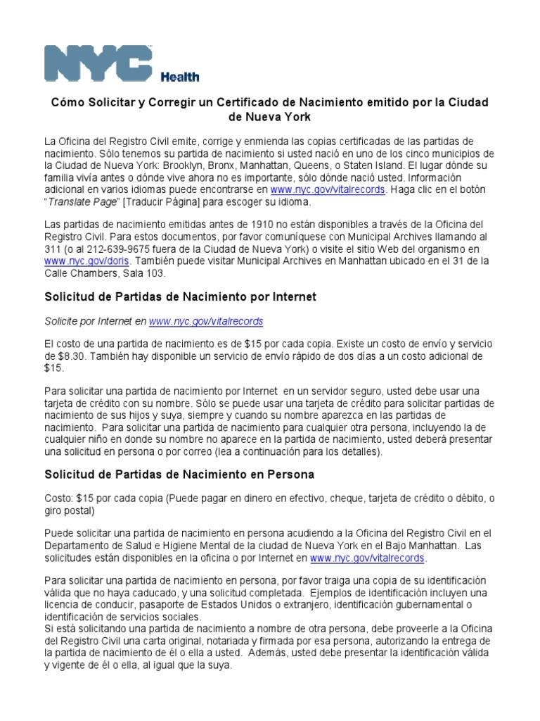 Perfecto Certificado De Nacimiento Check Online Colección de ...