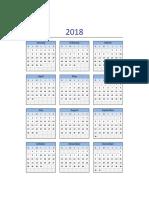 Calendario 2018 Excel Domingo a Sabado