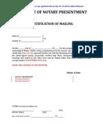Affidavit of Notary Presentment - Red
