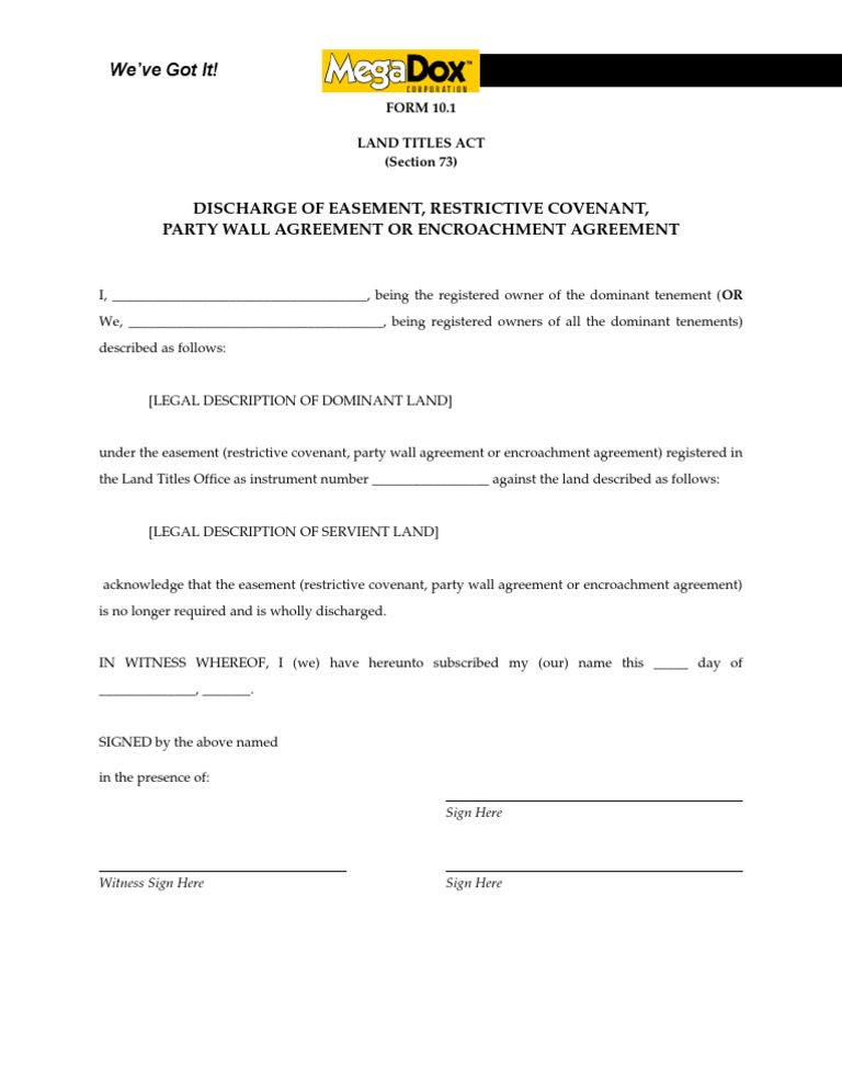 Discharge Of Easement Or Restrictive Covenant