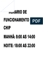 Horario de Funcionamento Do Chip