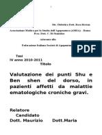 Valutazione Dei Punti Shu e Ben Shen Del Dorso in Pazienti Affetti Da Malattie Ematologiche Croniche Gravi Mariadele Cappucci 2011