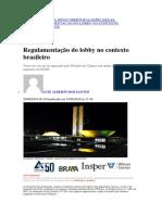 Regulamentação Do Lobby No Contexto Brasileiro Jota 20062018