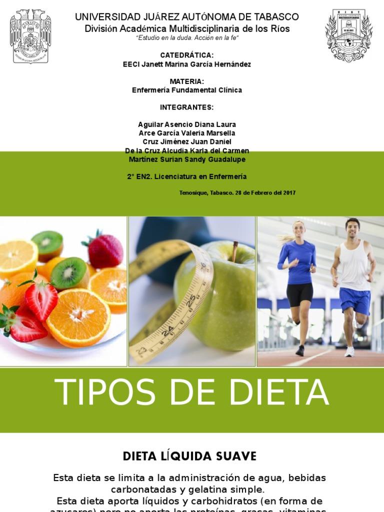 Tipos de dietas en enfermeria