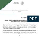 Boletin de Prensa Declaratoria de Emergencia Extraordinaria Del Estado Puebla 17 Municipios