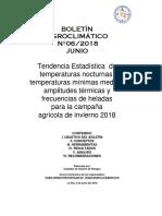 BOLETÍN AGROCLIMÁTICO Nº06-2018 JUNIO-Tendencia Estadística de Temperaturas Nocturnas, Temperaturas Mínimas Medias, Amplitudes Térmicas y Frecuencias de Heladas Para La Campaña Agrícola de Invierno 2018