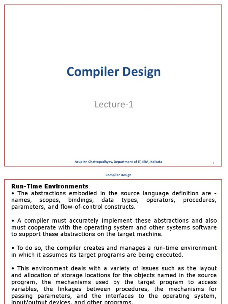 Compiler Design L1 Parameter Computer Programming Subroutine