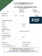 2018 Children's Registration Form