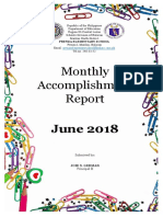 Monthly Accomplishment Report June 2018