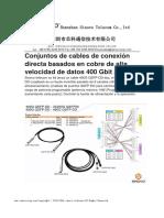 Conjuntos de cables de conexión directa basados en cobre de alta velocidad de datos 400 Gbit / s