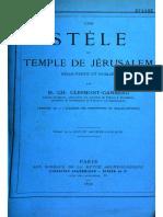 Clarmont Ganneau-Un Stèle Du Temple de Jérusalem