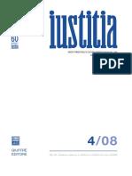 Iustitia- Rivista Trimestrale Di Cultura Giuridica - Anno Lxi, Ottobre-dicembre 2008
