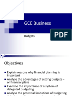 GCE Business Budgets