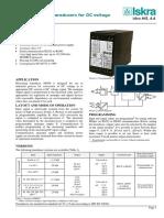 ISKRA MI 456 Measuring Transducer Datasheet
