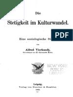Alfred Vierkandt, Die Stetigkeit Im Kulturwandel