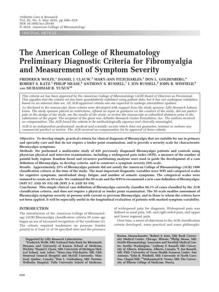 2010_Preliminary_Diagnostic_Criteria pdf | Fibromyalgia