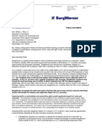 BorgWarner letter to the U.S. Department of Commerce