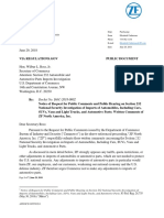 ZF North America letter to the U.S. Department of Commerce