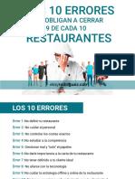Los 10 Errores Que Obligan a Cerrar 9 de Cada 10 Restaurantes