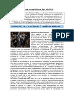 Revue de Presse Défense Du 4 Juin 2018
