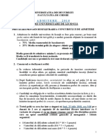 Desfasurare-concurs Admitere Fac de Chimie Bucuresti 2018