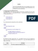 Lists HTML