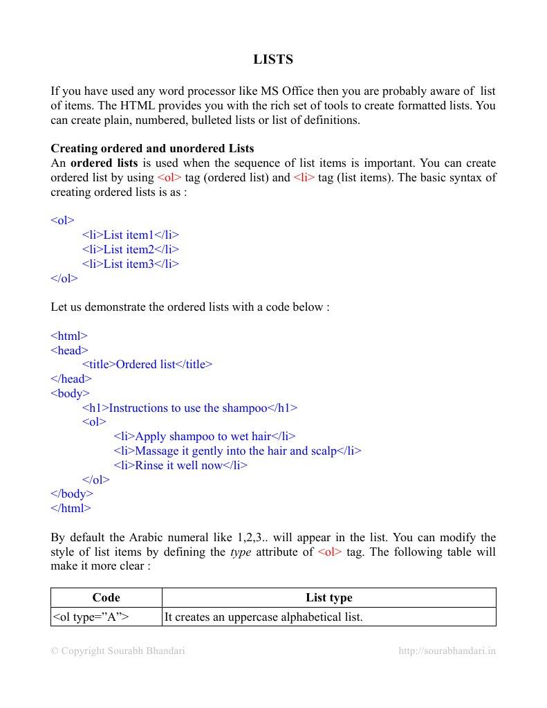 Lists HTML | Letter Case | Html