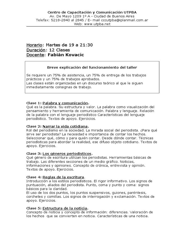 Horario Martes De 19 A 21 30 Duración 12 Clases Docente
