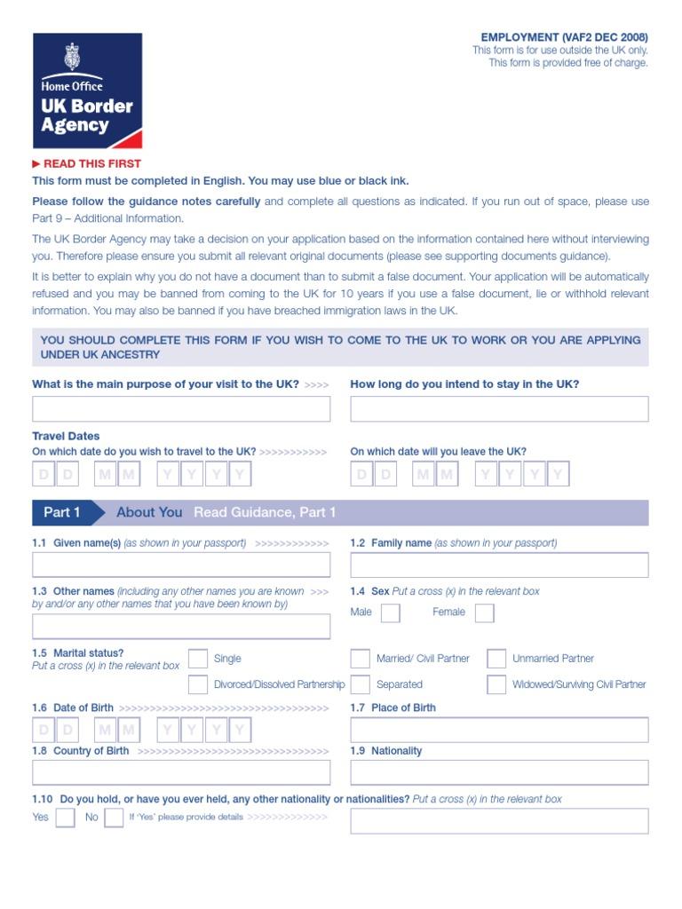 Uk visa application form vaf2 travel visa passport falaconquin
