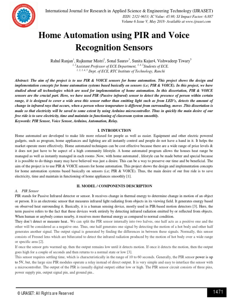 Home Automation using PIR and Voice Recognition Sensors
