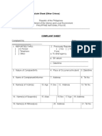 Sample Format of Complaint Sheet (Other Crimes)