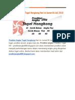 Prediksi Angka Togel Hongkong Hari Ini Jumat 06 Juli 2018