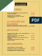 Menu Restaurant Atlantide Brest - Hôtel Center