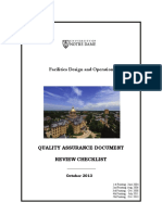 Notredame Quality Assurance Deliverables Checklist 2013