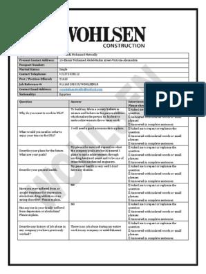 Wohlsen Job Interview Questionnaire[531]   Question