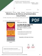 Resumen Del Libro 'La Clave de Los Negocios Está en La Ejecución'