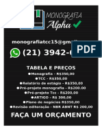 R$ 350,00 POR MONOGRAFIAS E TCC  WHATSAPP  (21) 3942-6556 E-MAIL monografiatcc15@gmail.com