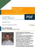 Teradata InfoSec Slides Defense in Depth Best Practices Pres December 2011 - FINAL