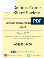 Seniors Come Share Society 2018 Resource Directory